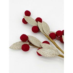 Pottery Barn Red Berry And Silver Leaf Tree Stem